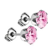 Ohrstecker mit rundem Kristall pink