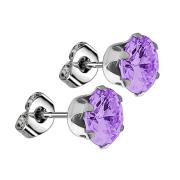 Ohrstecker mit rundem Kristall violett