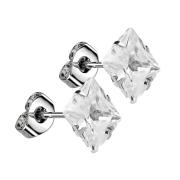 Ohrstecker mit quadratischem Kristall silber