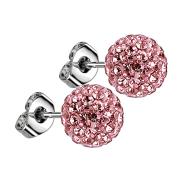 Ohrstecker mit Kristallkugel pink