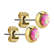 Ohrstecker vergoldet mit Opal pink