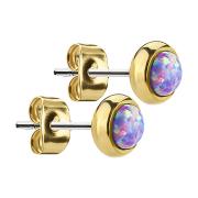 Ohrstecker vergoldet mit Opal violett