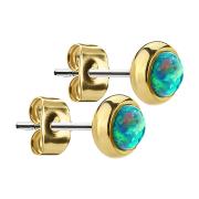 Ohrstecker vergoldet mit Opal grün