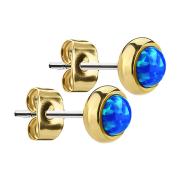 Ohrstecker vergoldet mit Opal blau