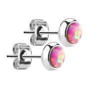 Ohrstecker silber mit Opal pink