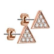 Ohrstecker dreieckig rosegold mit Kristall silber
