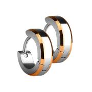 Ohrring zum Klappen silber mit 2 rosegoldenen Seitenstreifen
