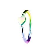 Micro Piercing Ring mit Herz farbig
