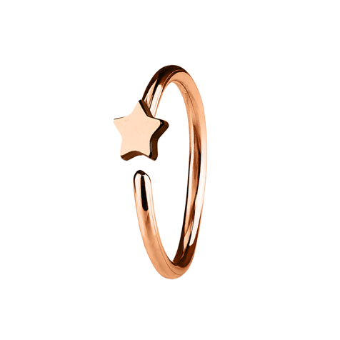 Micro Piercing Ring mit Stern rosegold