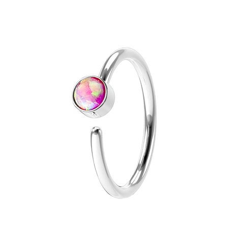Micro Piercing Ring silber mit Opal pink