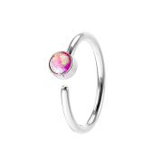 Micro Piercing Ring silber mit Opal pink