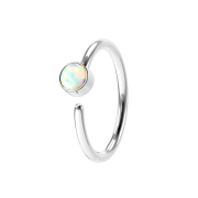 Micro Piercing Ring silber mit Opal weiss