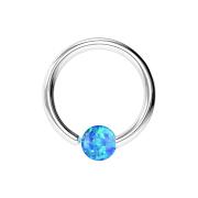 Micro Piercing Ring silber mit Kugel Opal einseitig fixiert blau