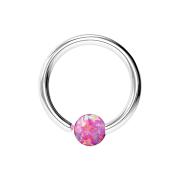 Micro Piercing Ring silber mit Kugel Opal einseitig fixiert pink