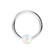 Micro Piercing Ring silber mit Kugel Opal einseitig fixiert weiss