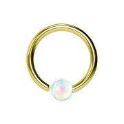 Micro Piercing Ring vergoldet mit Kugel Opal einseitig fixiert weiss