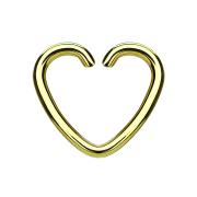 Micro Piercing Ring Herz vergoldet mit Titanium Beschichtung
