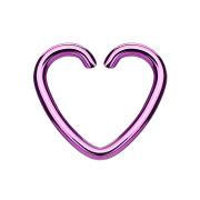 Micro Piercing Ring Herz violett mit Titanium Beschichtung