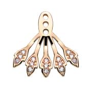 Ohrring Ear Jacket rosegold mit fünf Kristallblätter