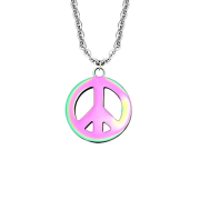 Kette silber mit Anhänger Peace farbig