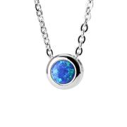Kette silber Anhänger Opal blau