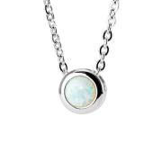Kette silber Anhänger Opal weiss