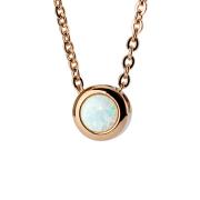 Kette rosegold Anhänger Opal weiss