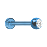 Micro Labret hellblau mit Kugel und Kristall silber