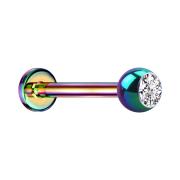 Micro Labret farbig mit Kugel und Kristall silber