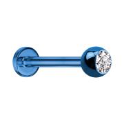 Micro Labret dunkelblau mit Kugel und Kristall silber