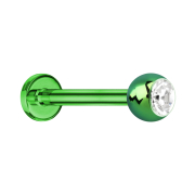 Micro Labret grün mit Kugel und Kristall silber