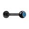 Micro Labret schwarz mit Kugel und Kristall hellblau