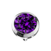 Dermal Anchor silber mit Kristall violett