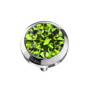 Dermal Anchor silber mit Kristall hellgrün