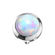 Dermal Anchor silber mit Opal weiss