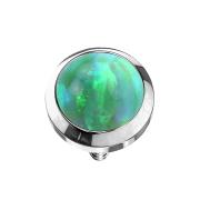 Dermal Anchor silber mit Opal grün