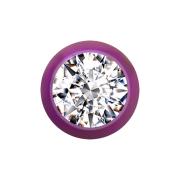 Micro Kugel violett mit Kristall silber