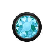 Micro Kugel schwarz mit Kristall aqua
