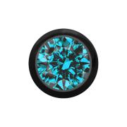 Kugel schwarz mit Kristall aqua