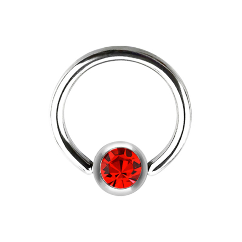 Micro Ball Closure Ring silber und Kristall rot