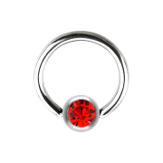 Micro Ball Closure Ring silber und Kristall rot