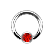 Ball Closure Ring silber und Kristall rot