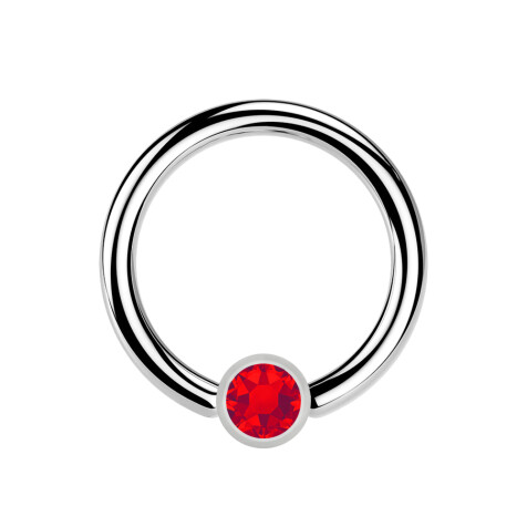 Ball Closure Ring silber und Kristall rot