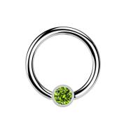 Micro Ball Closure Ring silber und Kristall hellgrün