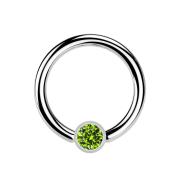 Ball Closure Ring silber und Kristall hellgrün