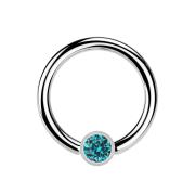 Ball Closure Ring silber und Kristall aqua