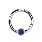 Micro Ball Closure Ring silber und Kristall dunkelblau