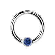 Ball Closure Ring silber und Kristall dunkelblau