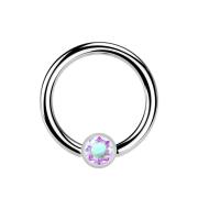 Micro Ball Closure Ring silber und Kristall multicolor