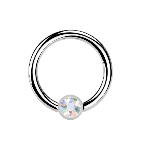 Micro Ball Closure Ring silber und Kristall multicolor